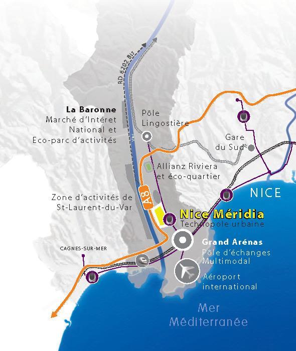 carte: Localisation: Nice Méridia -Nice Eco-Vallée, Plaine du Var, Alpes-Maritimes 06 (201409)