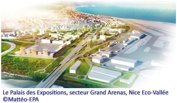 Le Palais des Expositions, secteur Grand Arenas, Nice Eco-Vallée ©Mattéo-EPA